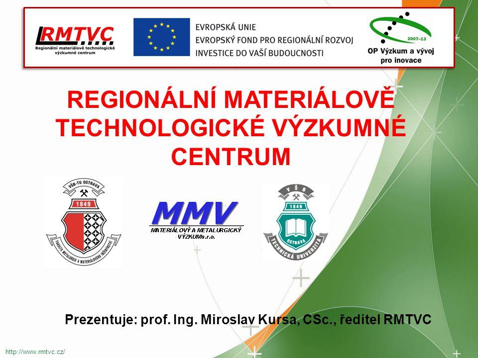 REGIONÁLNÍ MATERIÁLOVĚ TECHNOLOGICKÉ VÝZKUMNÉ CENTRUM http://www.rmtvc.cz/ Prezentuje: prof.