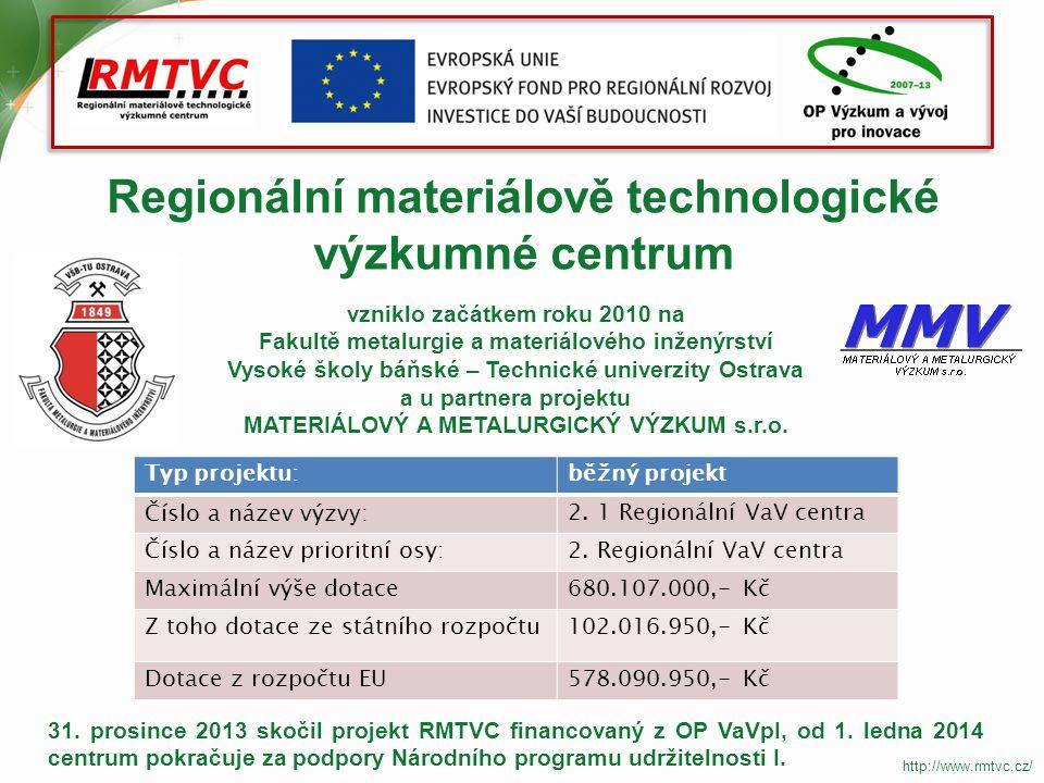Cíl projektu Cílem projektu RMTVC bylo vybudovat výzkumnou infrastrukturu laboratoří a vědecko-výzkumné týmy, které budou vyvíjet, připravovat a optimalizovat vlastnosti pokročilých materiálů a technologií jejich přípravy pro aplikační sféru.