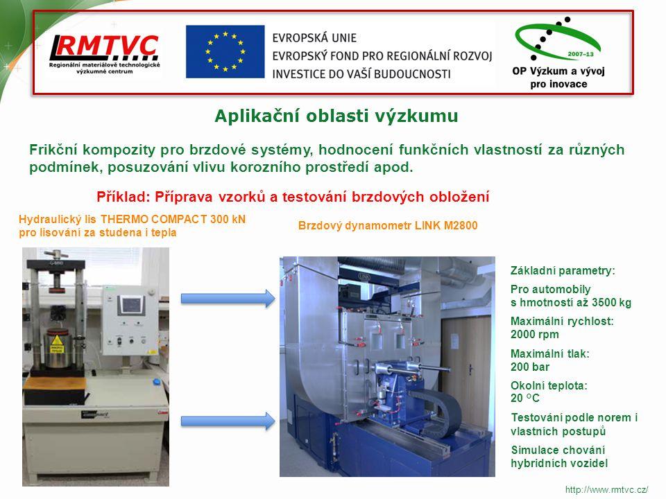 Aplikační oblasti výzkumu Frikční kompozity pro brzdové systémy, hodnocení funkčních vlastností za různých podmínek, posuzování vlivu korozního prostředí apod.
