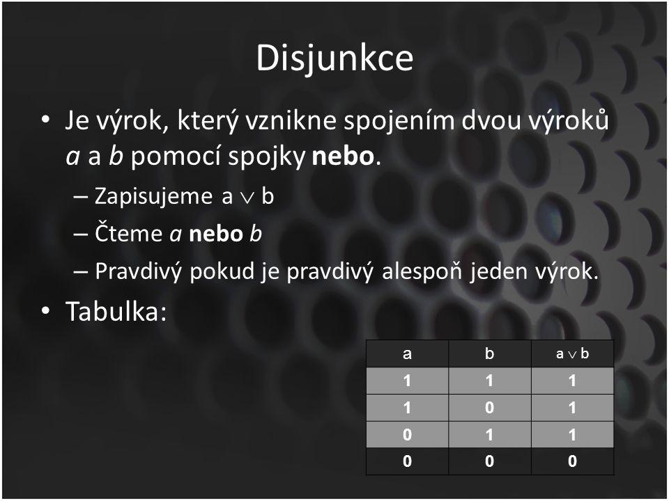 Disjunkce Je výrok, který vznikne spojením dvou výroků a a b pomocí spojky nebo.