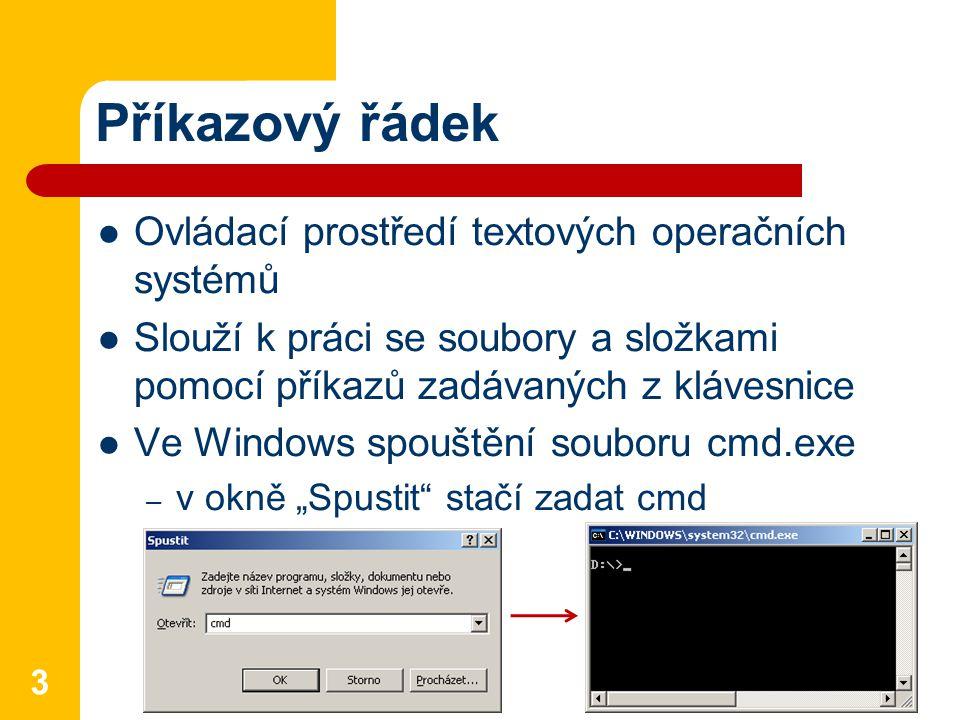 """Příkazový řádek Ovládací prostředí textových operačních systémů Slouží k práci se soubory a složkami pomocí příkazů zadávaných z klávesnice Ve Windows spouštění souboru cmd.exe – v okně """"Spustit stačí zadat cmd 3"""