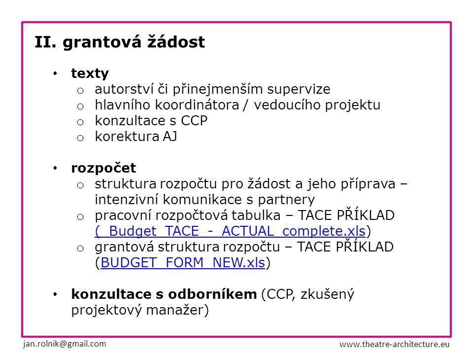 II. grantová žádost jan.rolnik@gmail.com www.theatre-architecture.eu texty o autorství či přinejmenším supervize o hlavního koordinátora / vedoucího p