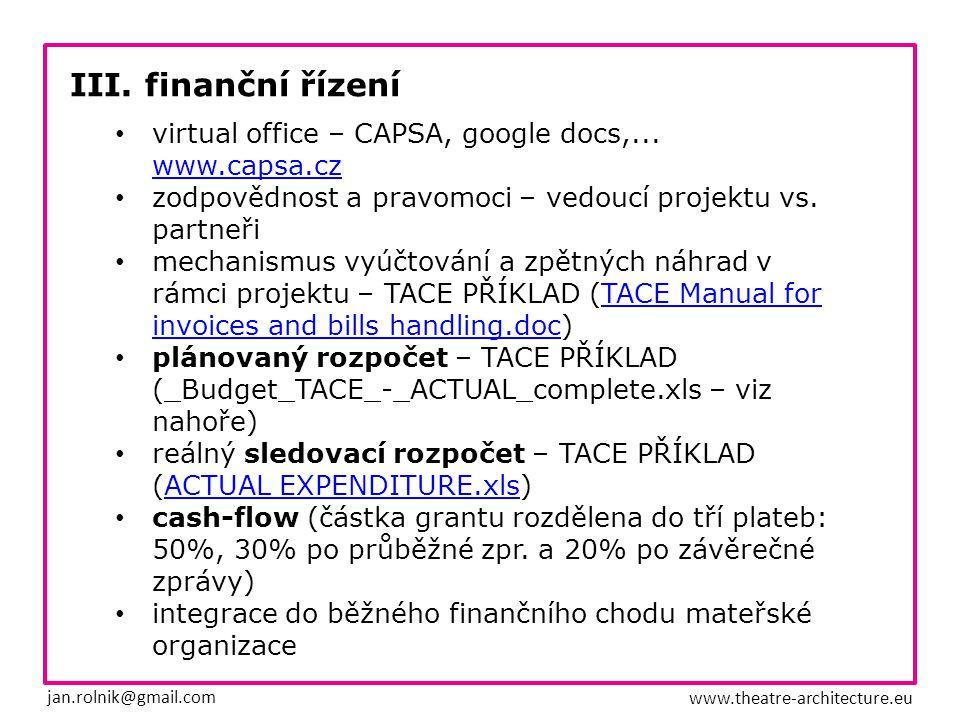 III. finanční řízení jan.rolnik@gmail.com www.theatre-architecture.eu virtual office – CAPSA, google docs,... www.capsa.cz zodpovědnost a pravomoci –