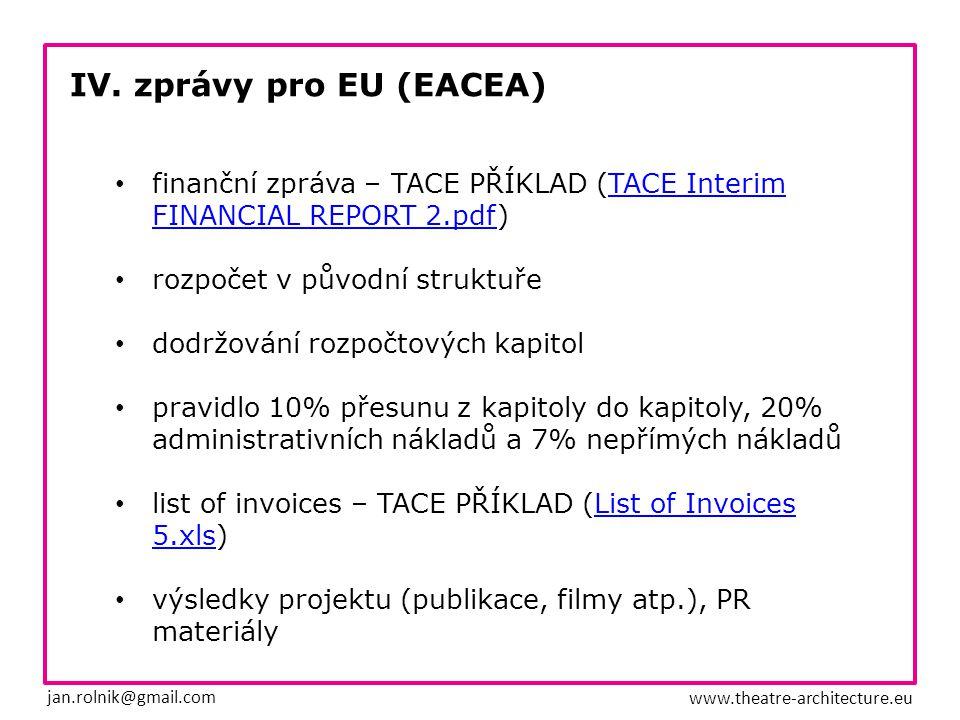 IV. zprávy pro EU (EACEA) jan.rolnik@gmail.com www.theatre-architecture.eu finanční zpráva – TACE PŘÍKLAD (TACE InterimTACE Interim FINANCIAL REPORT 2