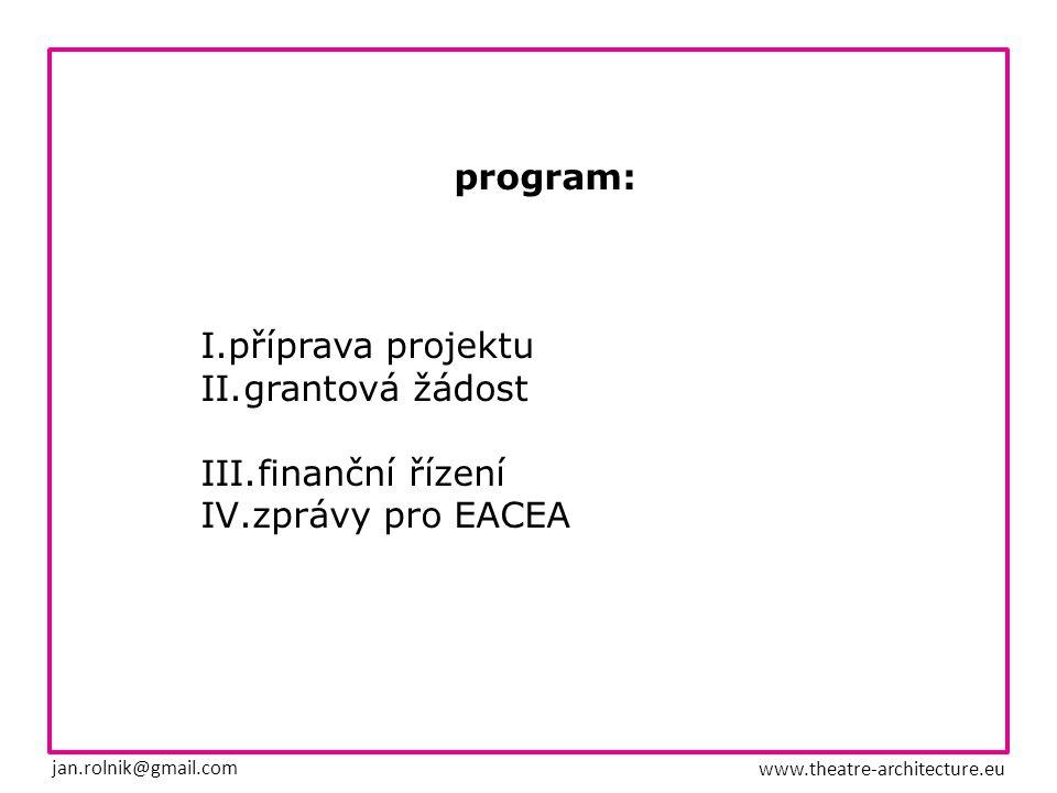 program: I.příprava projektu II.grantová žádost III.finanční řízení IV.zprávy pro EACEA jan.rolnik@gmail.com www.theatre-architecture.eu