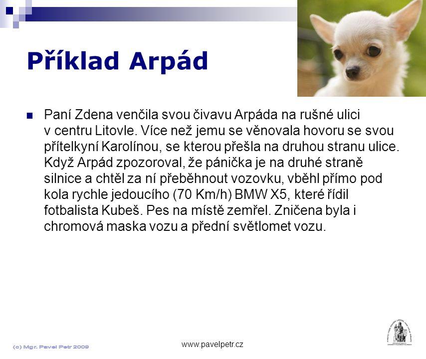 Příklad Arpád www.pavelpetr.cz Paní Zdena venčila svou čivavu Arpáda na rušné ulici v centru Litovle.
