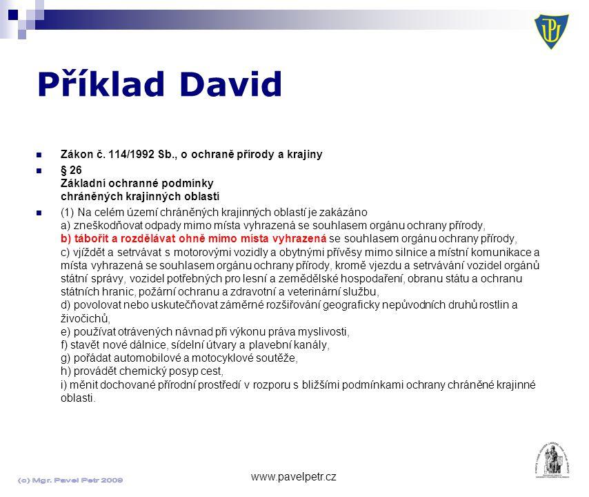 Příklad David www.pavelpetr.cz Zákon č.