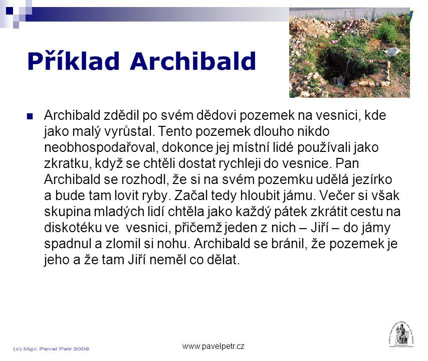 Příklad Archibald www.pavelpetr.cz Archibald zdědil po svém dědovi pozemek na vesnici, kde jako malý vyrůstal.