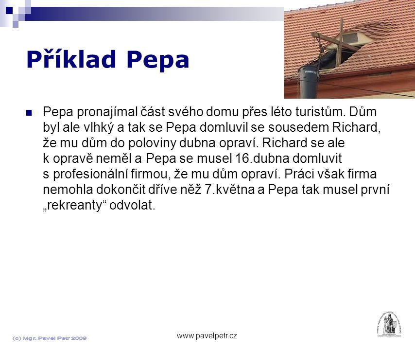 Příklad Pepa www.pavelpetr.cz Pepa pronajímal část svého domu přes léto turistům.