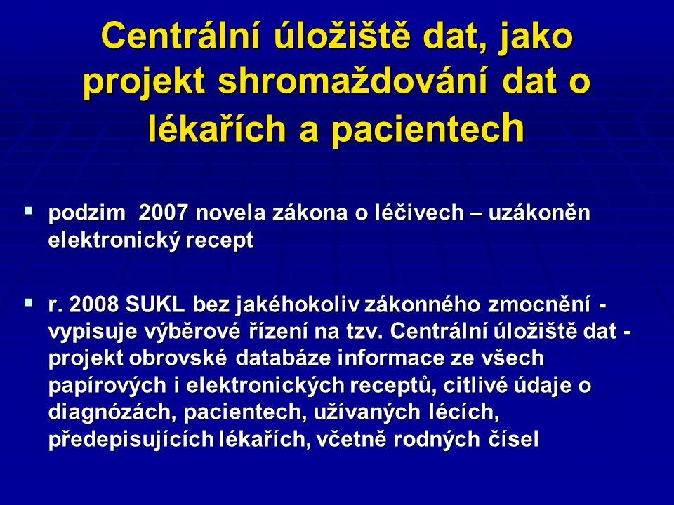 Centrální úložiště dat, jako projekt shromaždování dat o lékařích a pacientec h  podzim 2007 novela zákona o léčivech – uzákoněn elektronický recept  r.