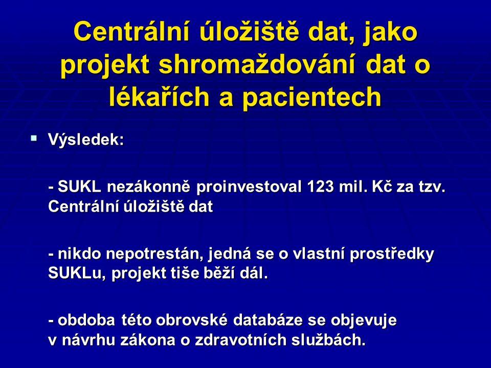 Centrální úložiště dat, jako projekt shromaždování dat o lékařích a pacientech  Výsledek: - SUKL nezákonně proinvestoval 123 mil.