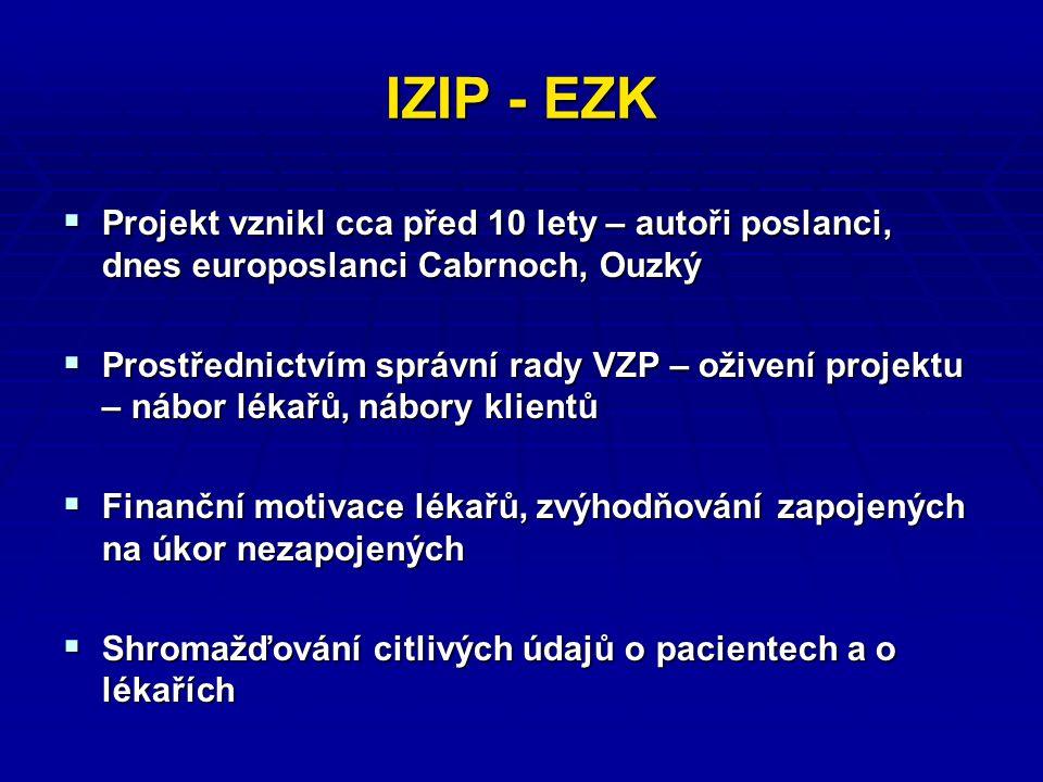 IZIP - EZK  Projekt vznikl cca před 10 lety – autoři poslanci, dnes europoslanci Cabrnoch, Ouzký  Prostřednictvím správní rady VZP – oživení projektu – nábor lékařů, nábory klientů  Finanční motivace lékařů, zvýhodňování zapojených na úkor nezapojených  Shromažďování citlivých údajů o pacientech a o lékařích