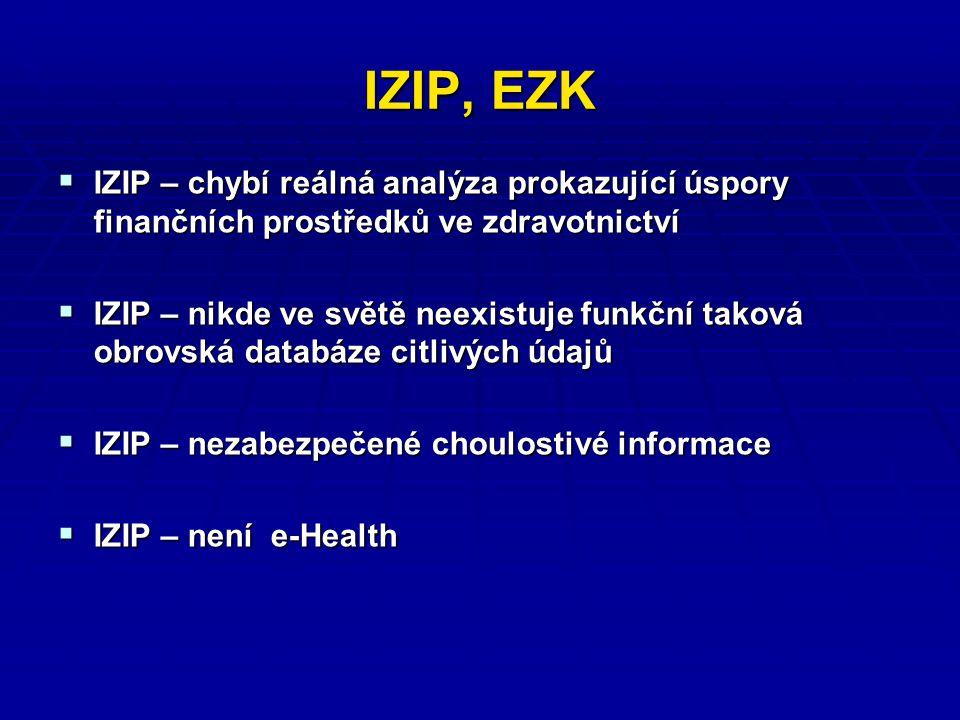 IZIP, EZK  IZIP – chybí reálná analýza prokazující úspory finančních prostředků ve zdravotnictví  IZIP – nikde ve světě neexistuje funkční taková obrovská databáze citlivých údajů  IZIP – nezabezpečené choulostivé informace  IZIP – není e-Health