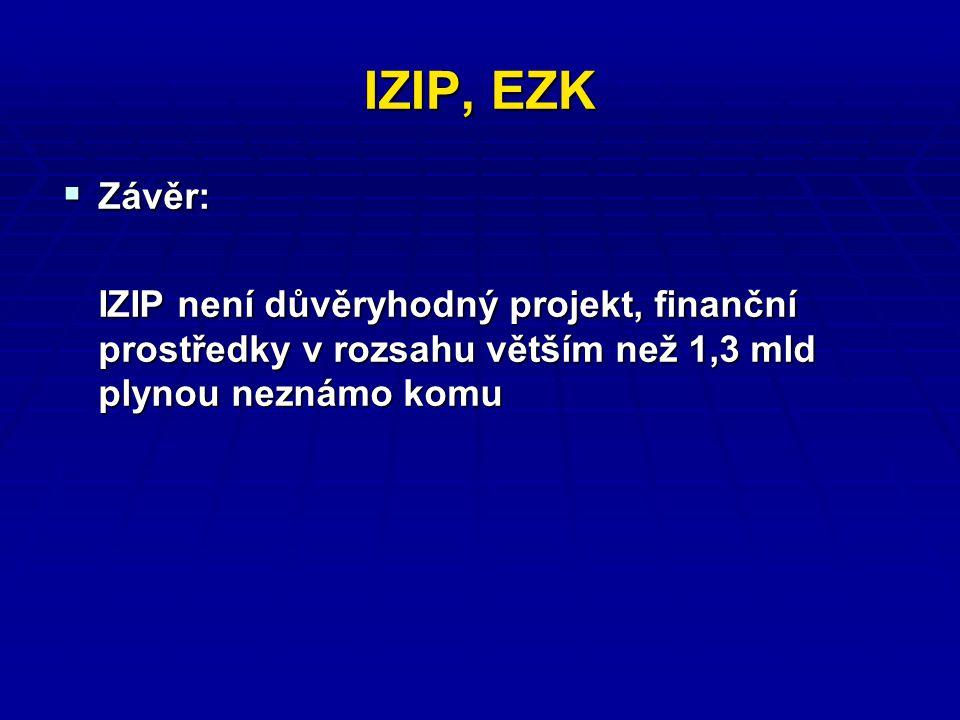 IZIP, EZK  Závěr: IZIP není důvěryhodný projekt, finanční prostředky v rozsahu větším než 1,3 mld plynou neznámo komu