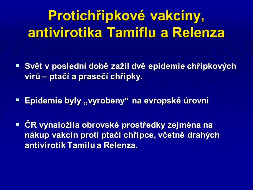 Protichřipkové vakcíny, antivirotika Tamiflu a Relenza  Svět v poslední době zažil dvě epidemie chřipkových virů – ptačí a prasečí chřipky.