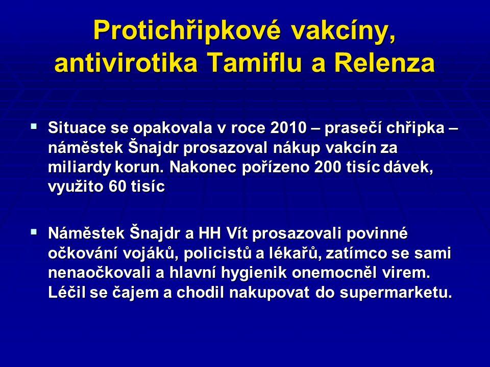 Protichřipkové vakcíny, antivirotika Tamiflu a Relenza  Situace se opakovala v roce 2010 – prasečí chřipka – náměstek Šnajdr prosazoval nákup vakcín za miliardy korun.