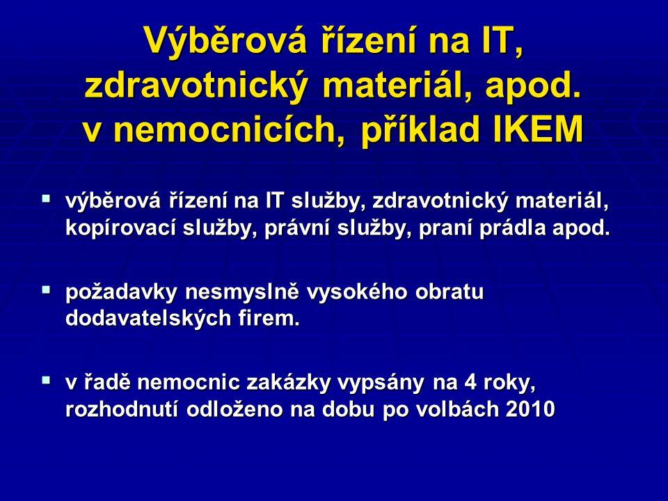 Výběrová řízení na IT, zdravotnický materiál, apod.