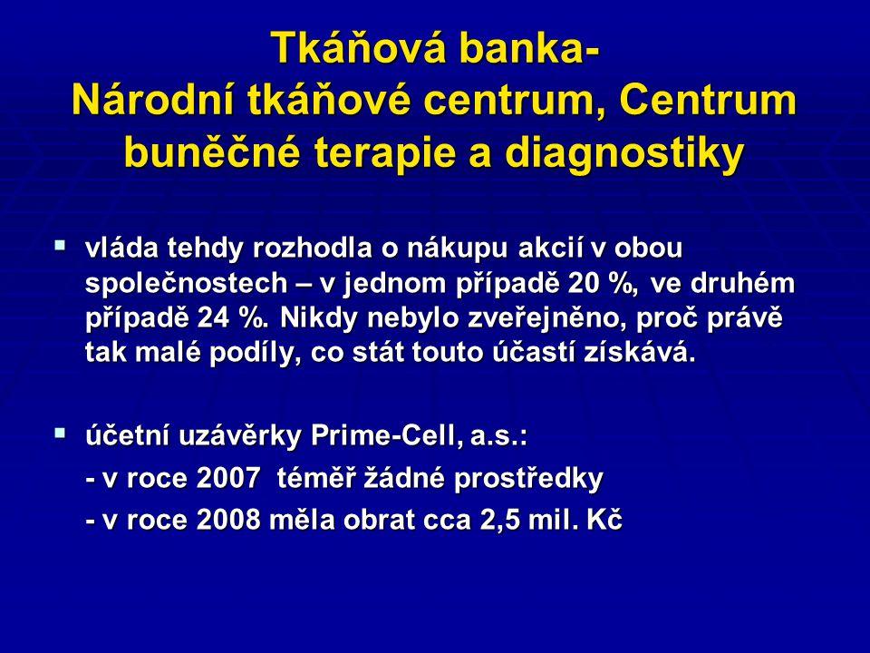 Tkáňová banka- Národní tkáňové centrum, Centrum buněčné terapie a diagnostiky  vláda tehdy rozhodla o nákupu akcií v obou společnostech – v jednom případě 20 %, ve druhém případě 24 %.