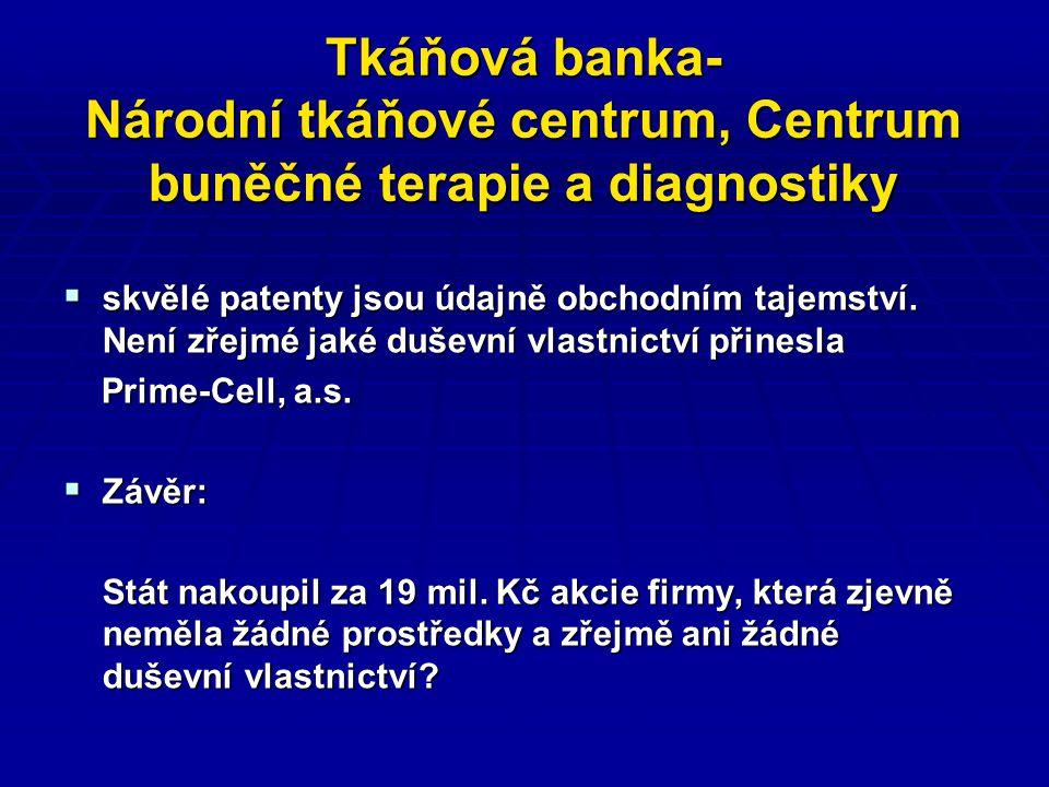 Tkáňová banka- Národní tkáňové centrum, Centrum buněčné terapie a diagnostiky  skvělé patenty jsou údajně obchodním tajemství.