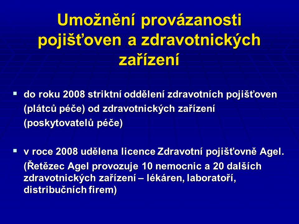 Umožnění provázanosti pojišťoven a zdravotnických zařízení  ZP Agel přetáhla jiným pojišťovnám 60 000 pojištěnců do 1 roku  poté požádala o fúzi s Hutnickou zaměstnaneckou pojišťovnou, ministerstvo zdravotnictví povolilo  poté požádala tato sloučená pojišťovna o sloučení s Českou národní zdravotní pojišťovnou, MZdr.