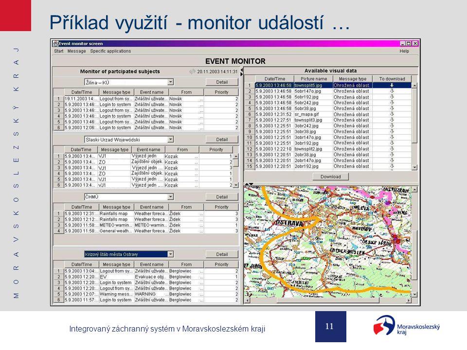 M O R A V S K O S L E Z S K Ý K R A J 11 Integrovaný záchranný systém v Moravskoslezském kraji Příklad využití - monitor událostí …