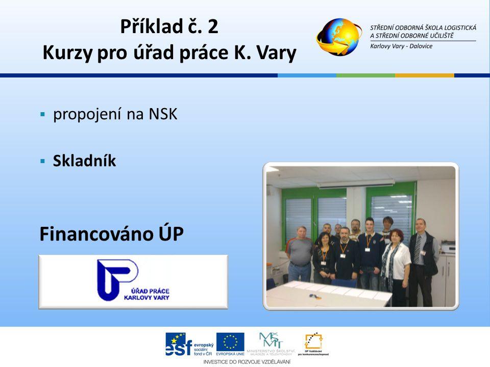  propojení na NSK  Skladník Financováno ÚP Příklad č. 2 Kurzy pro úřad práce K. Vary