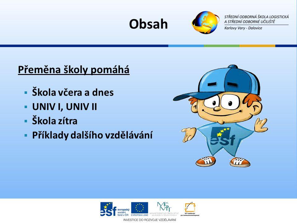 Přeměna školy pomáhá  Škola včera a dnes  UNIV I, UNIV II  Škola zítra  Příklady dalšího vzdělávání Obsah