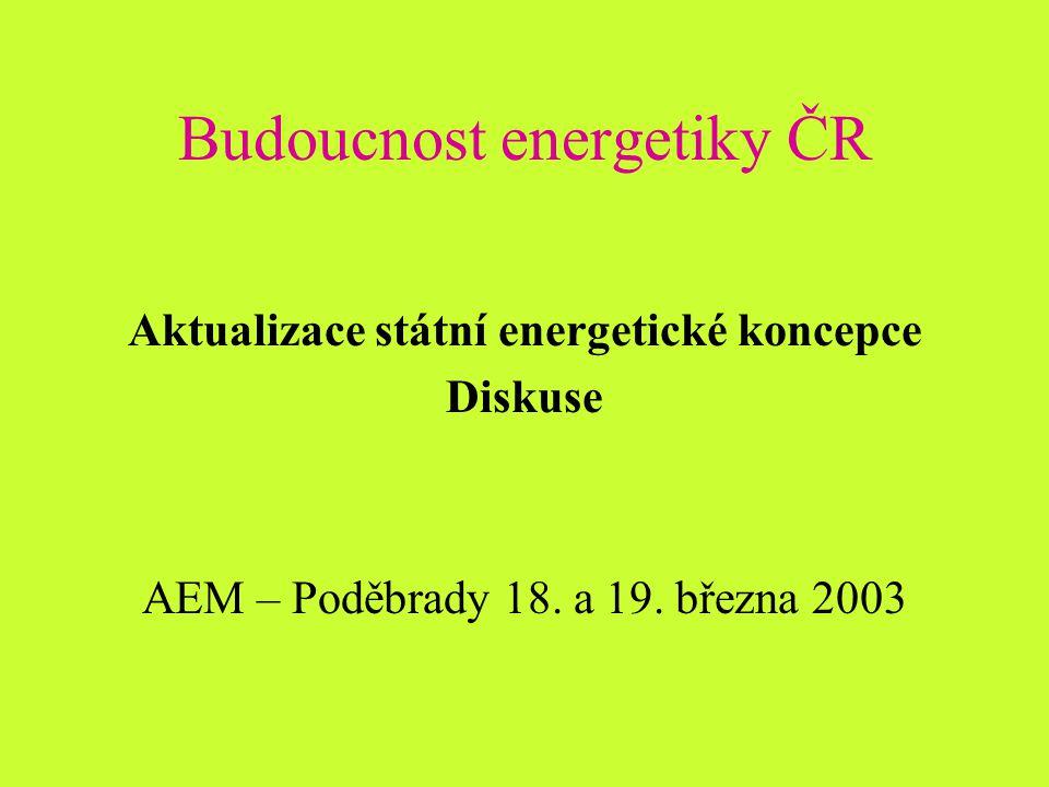 Budoucnost energetiky ČR Aktualizace státní energetické koncepce Diskuse AEM – Poděbrady 18.