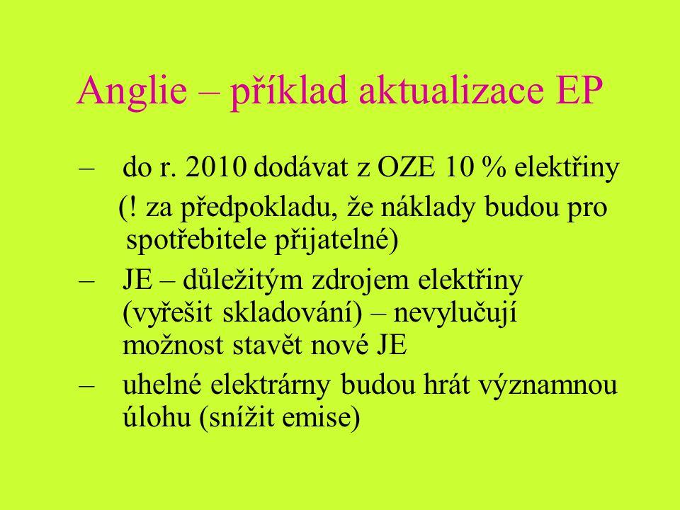 Anglie – příklad aktualizace EP –do r. 2010 dodávat z OZE 10 % elektřiny (.