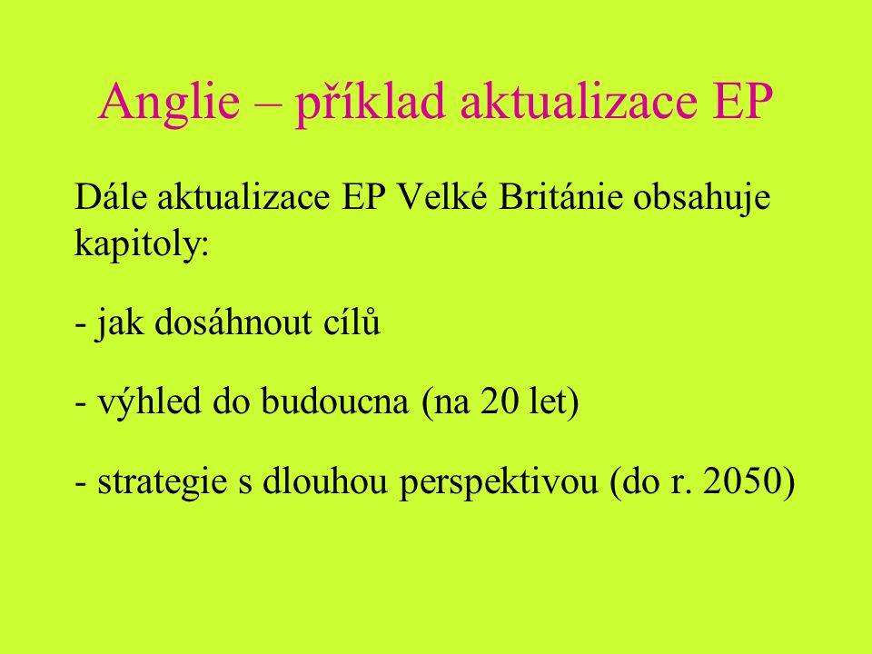 Anglie – příklad aktualizace EP Dále aktualizace EP Velké Británie obsahuje kapitoly: - jak dosáhnout cílů - výhled do budoucna (na 20 let) - strategie s dlouhou perspektivou (do r.