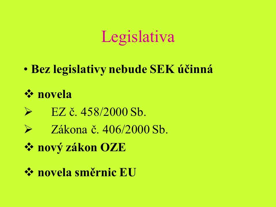 Legislativa Bez legislativy nebude SEK účinná  novela  EZ č.