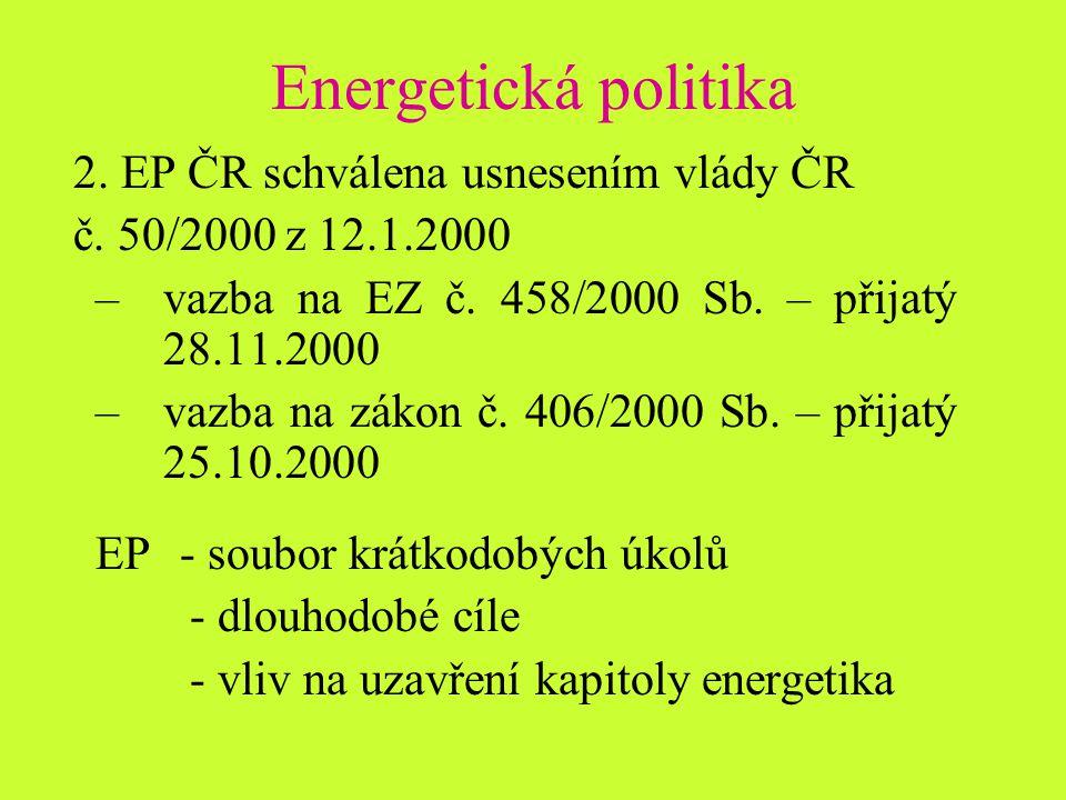 Energetická politika 2. EP ČR schválena usnesením vlády ČR č.
