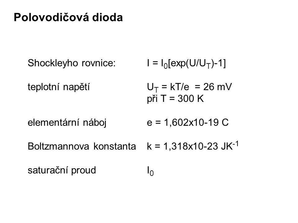 Shockleyho rovnice:I = I 0 [exp(U/U T )-1] teplotní napětíU T = kT/e = 26 mV při T = 300 K elementární náboje = 1,602x10-19 C Boltzmannova konstanta k
