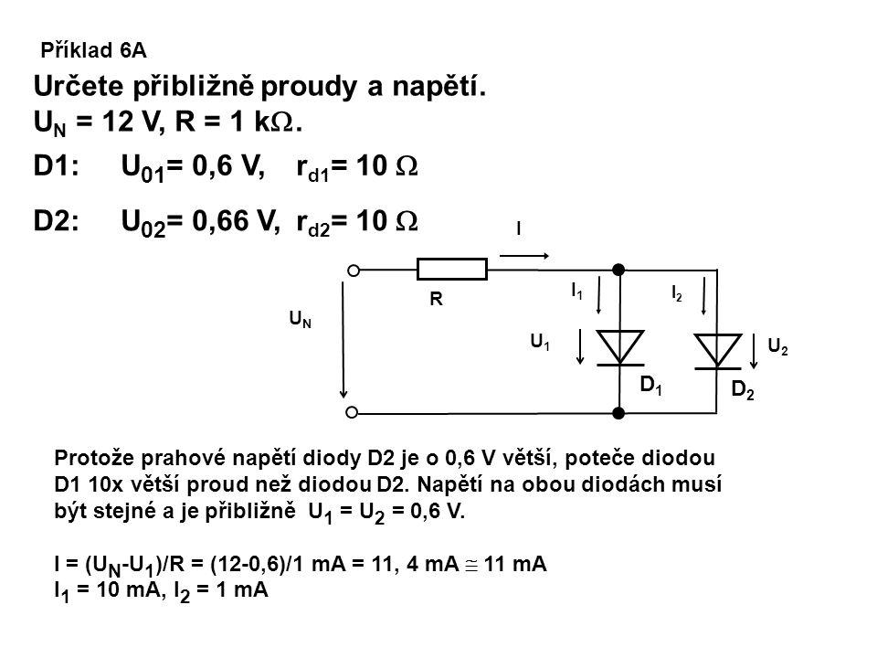 Příklad 6A Určete přibližně proudy a napětí. U N = 12 V, R = 1 k . D2D2 D1D1 U1U1 I2I2 I1I1 UNUN I U2U2 R D2: U 02 = 0,66 V, r d2 = 10  Protože prah