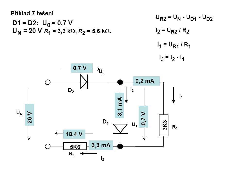 Příklad 7 řešení 3K3 R2R2 R1R1 5K6 I2I2 I1I1 I3I3 UNUN D1D1 D2D2 U1U1 U2U2 D1 = D2: U 0 = 0,7 V U N = 20 V R 1 = 3,3 k , R 2 = 5,6 k . U R2 = U N -