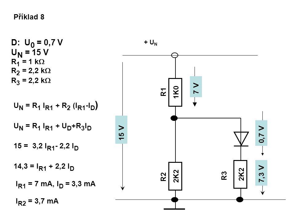 Příklad 8 D: U 0 = 0,7 V U N = 15 V R 1 = 1 k  R 2 = 2,2 k  R 3 = 2,2 k  U N = R 1 I R1 + R 2 (I R1 -I D ) 2K2 R1 R2 R3 + U N 2K2 1K0 0,7 V U N = R