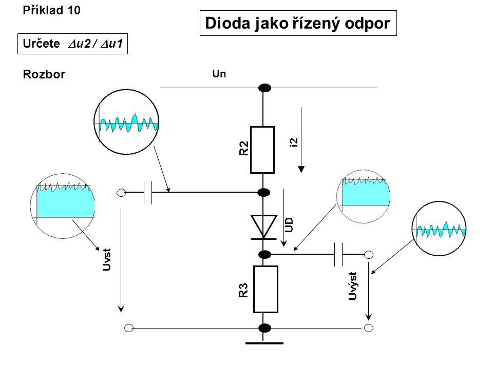 Příklad 10 Dioda jako řízený odpor Rozbor Uvst R2R2 R3R3 Un Uvýst UD i2 Určete  u2 /  u1