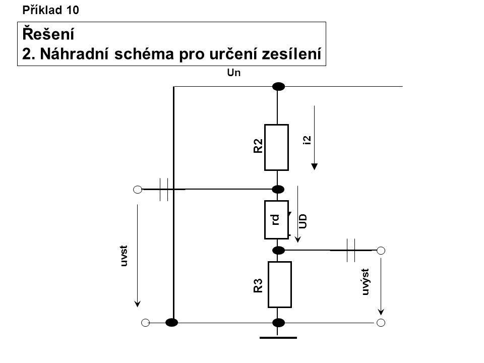 Příklad 10 Řešení 2. Náhradní schéma pro určení zesílení R2R2 R3R3 Un uvst uvýst UD i2 rd
