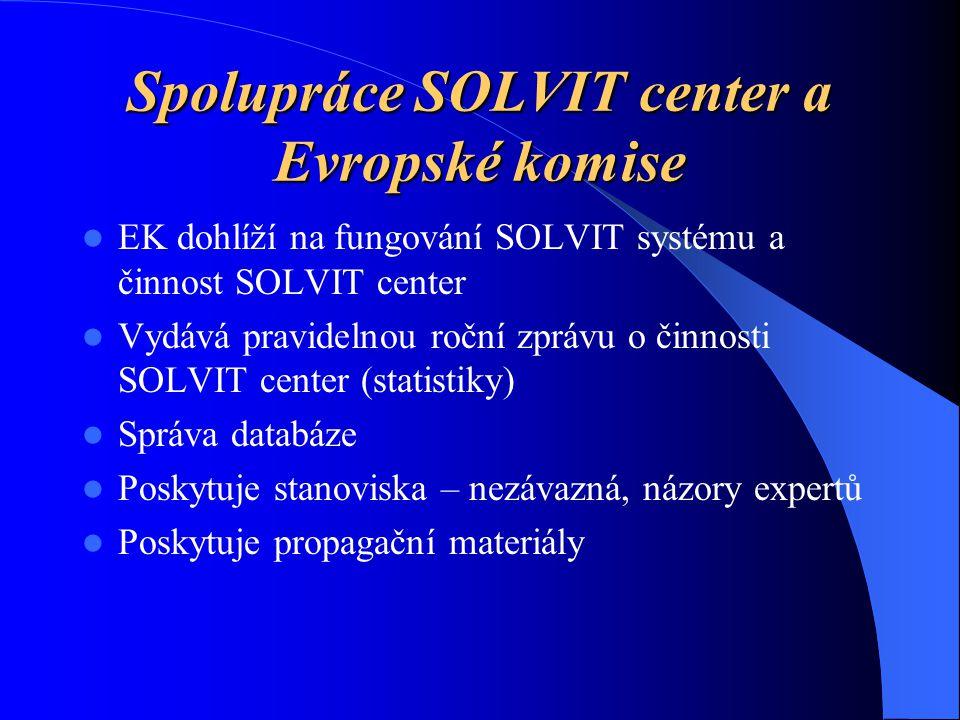 Spolupráce SOLVIT center a Evropské komise EK dohlíží na fungování SOLVIT systému a činnost SOLVIT center Vydává pravidelnou roční zprávu o činnosti SOLVIT center (statistiky) Správa databáze Poskytuje stanoviska – nezávazná, názory expertů Poskytuje propagační materiály