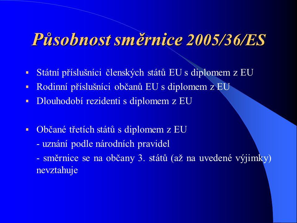 Působnost směrnice 2005/36/ES  Státní příslušníci členských států EU s diplomem z EU  Rodinní příslušníci občanů EU s diplomem z EU  Dlouhodobí rezidenti s diplomem z EU  Občané třetích států s diplomem z EU - uznání podle národních pravidel - směrnice se na občany 3.