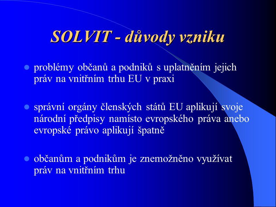 Výhody řešení sporů v rámci SOLVIT systému Bezplatnost Neformálnost Rychlost (lhůta 10 týdnů) Osobní kontakt Zapojení odborníků z ČR i EK