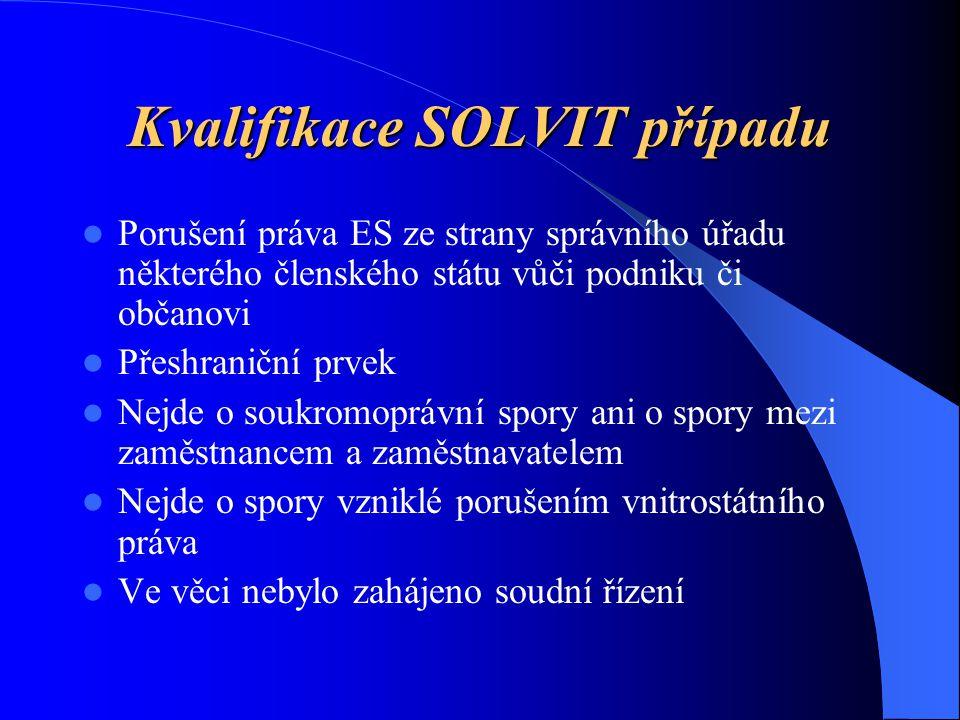 Kvalifikace SOLVIT případu Porušení práva ES ze strany správního úřadu některého členského státu vůči podniku či občanovi Přeshraniční prvek Nejde o soukromoprávní spory ani o spory mezi zaměstnancem a zaměstnavatelem Nejde o spory vzniklé porušením vnitrostátního práva Ve věci nebylo zahájeno soudní řízení