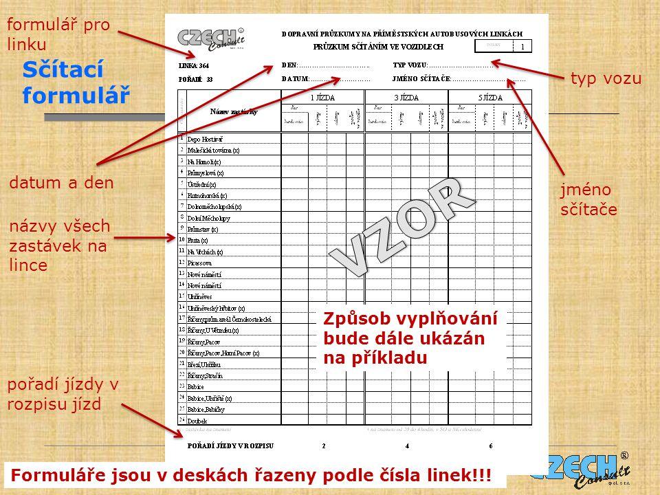 Sčítací formulář jméno sčítače formulář pro linku názvy všech zastávek na lince Způsob vyplňování bude dále ukázán na příkladu datum a den Formuláře jsou v deskách řazeny podle čísla linek!!.