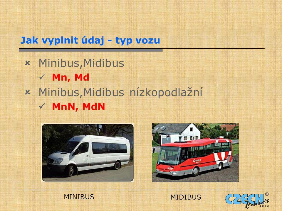 Jak vyplnit údaj - typ vozu  Minibus,Midibus Mn, Md  Minibus,Midibus nízkopodlažní MnN, MdN MINIBUS MIDIBUS