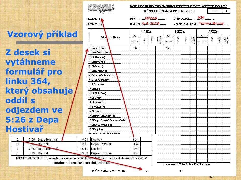 Vzorový příklad Z desek si vytáhneme formulář pro linku 364, který obsahuje oddíl s odjezdem ve 5:26 z Depa Hostivař Tomáš Marný 9.4.2014 středa KN