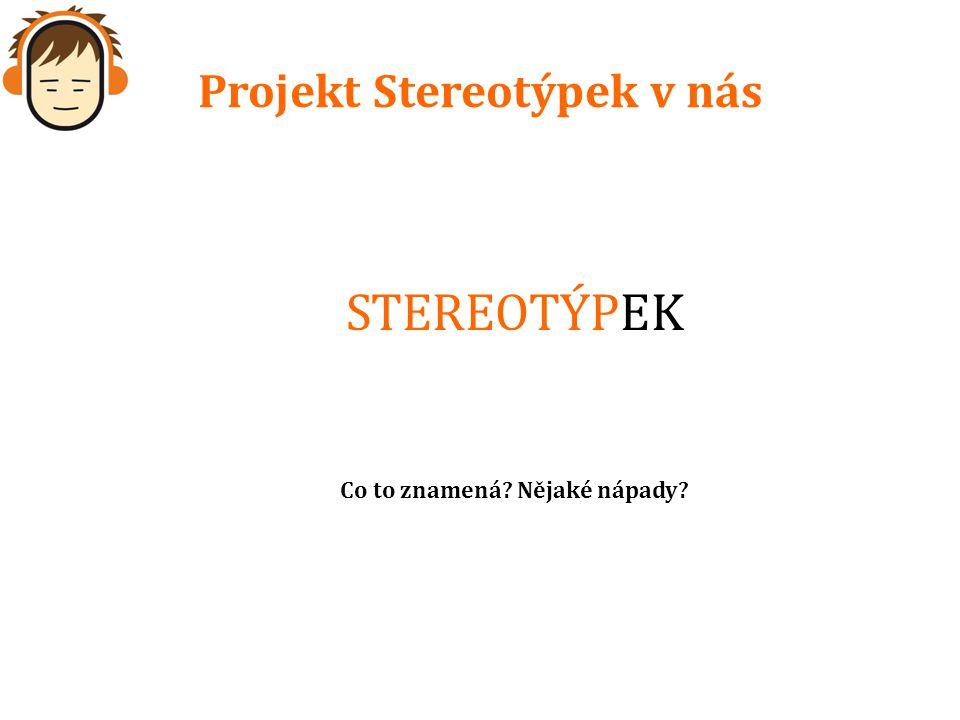 Projekt Stereotýpek v nás STEREOTÝPEK Co to znamená Nějaké nápady