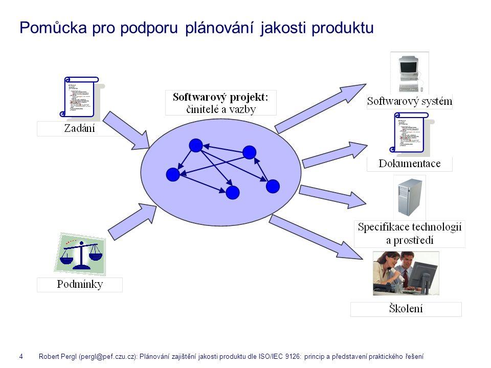 4 Robert Pergl (pergl@pef.czu.cz): Plánování zajištění jakosti produktu dle ISO/IEC 9126: princip a představení praktického řešení Pomůcka pro podporu