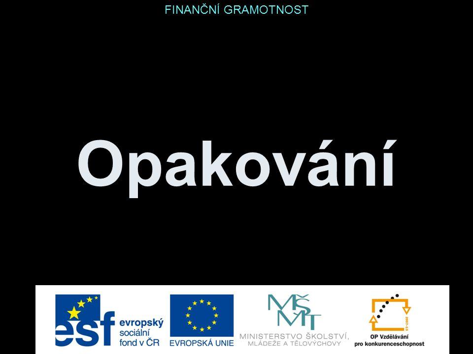 Opakování Finanční produkty … za 500 Kč Vysvětli, co je roční procentní sazba nákladů (RPSN) úvěru.