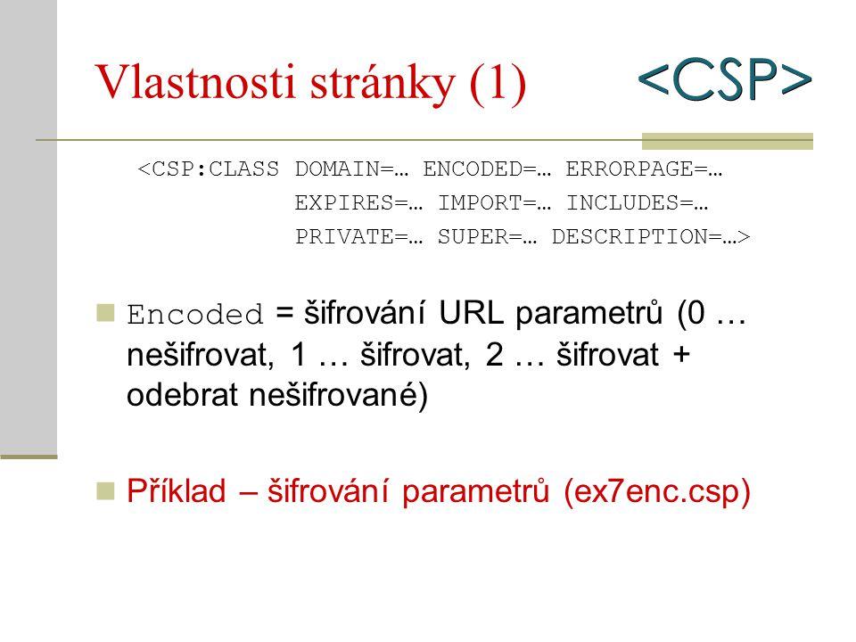 Vlastnosti stránky (1) <CSP:CLASS DOMAIN=… ENCODED=… ERRORPAGE=… EXPIRES=… IMPORT=… INCLUDES=… PRIVATE=… SUPER=… DESCRIPTION=…> Encoded = šifrování UR