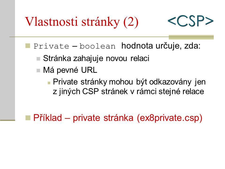 Vlastnosti stránky (2) Private – boolean hodnota určuje, zda: Stránka zahajuje novou relaci Má pevné URL Private stránky mohou být odkazovány jen z ji